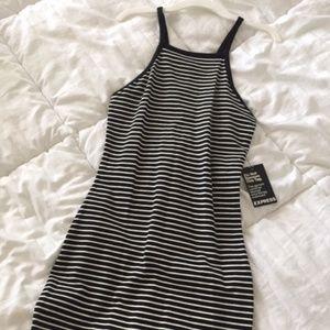 Black and White Striped Body Con Dress